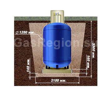 План схема земельных работ под вертикальный  газгольдер на 2700 литров.