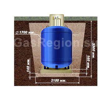 План схема земельных работ под вертикальный  газгольдер на 4800 литров.